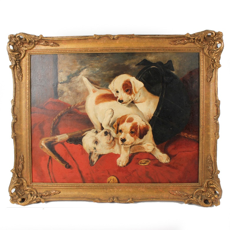 Vintage Oil Painting of Puppies