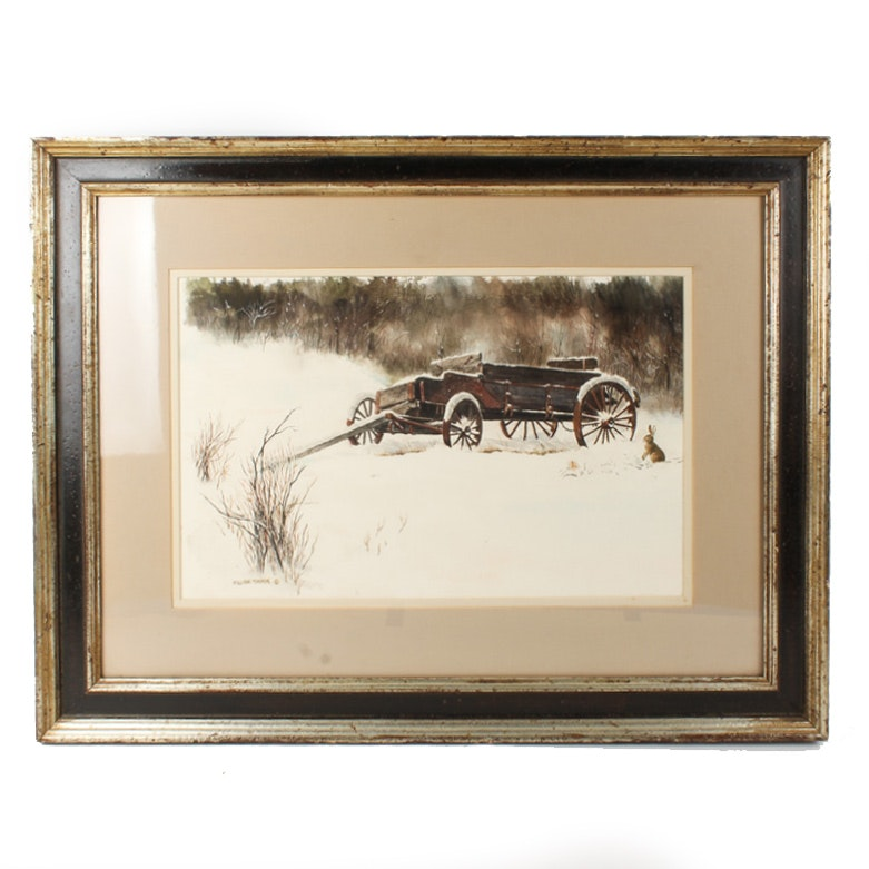 """William Timmins Watercolor Painting """"Snowbound Wagon"""""""
