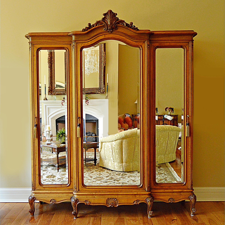 Fabulous French Victorian Walnut Triple-Mirrored Armoire