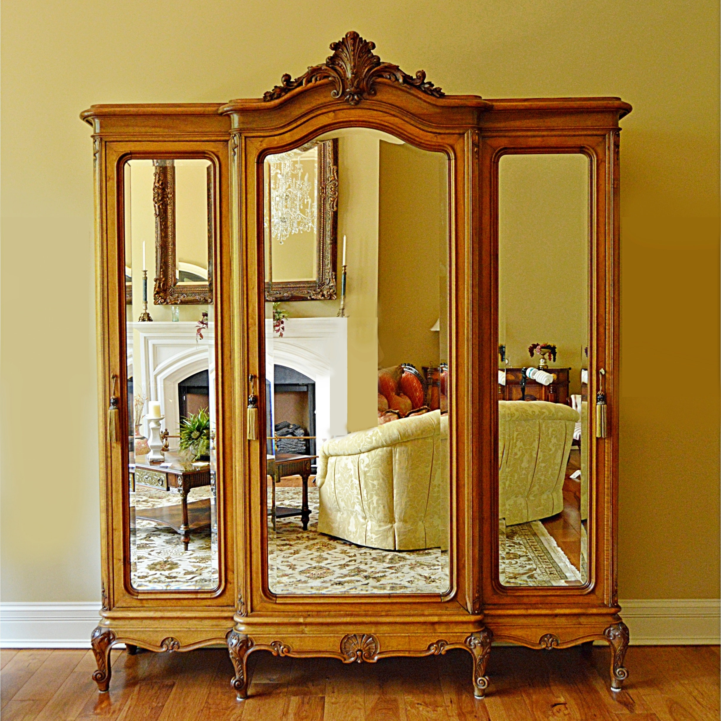 Fabulous French Victorian Walnut Triple-Mirrored Armoire