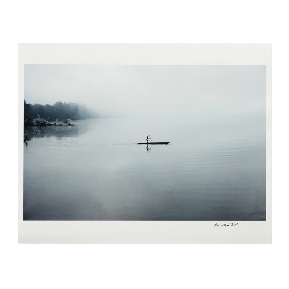 Signed Digital Photograph on Paper of a Person on a Boat