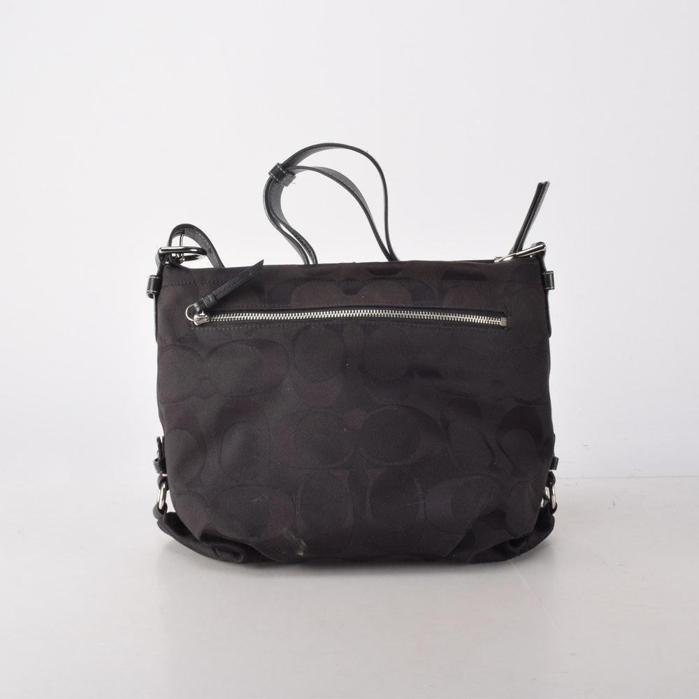 Coach Signature Black Duffle Shoulder Bag