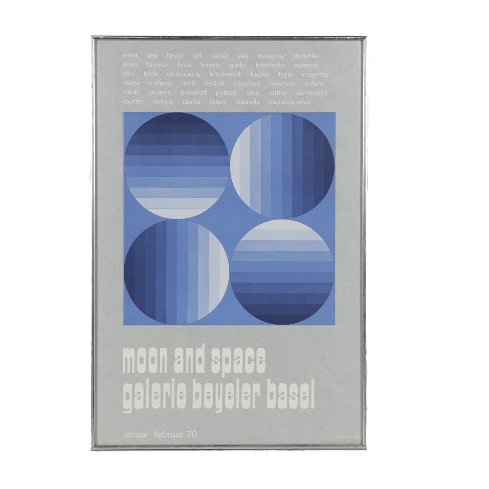 """Galerie Beyeler Basel Serigraph on Paper Exhibition Poster """"Moon and Space"""""""