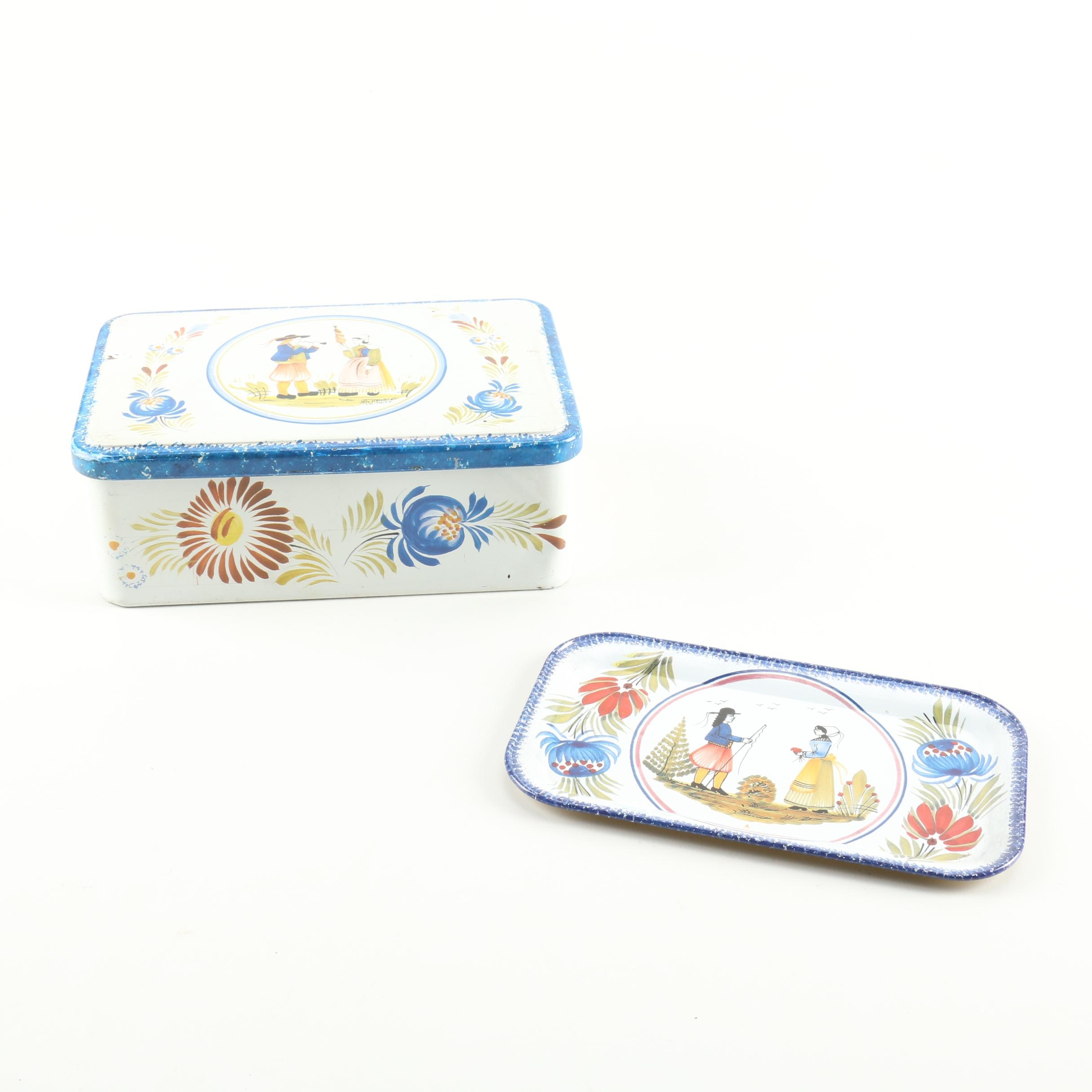 Massilly France Tin Box and Plate