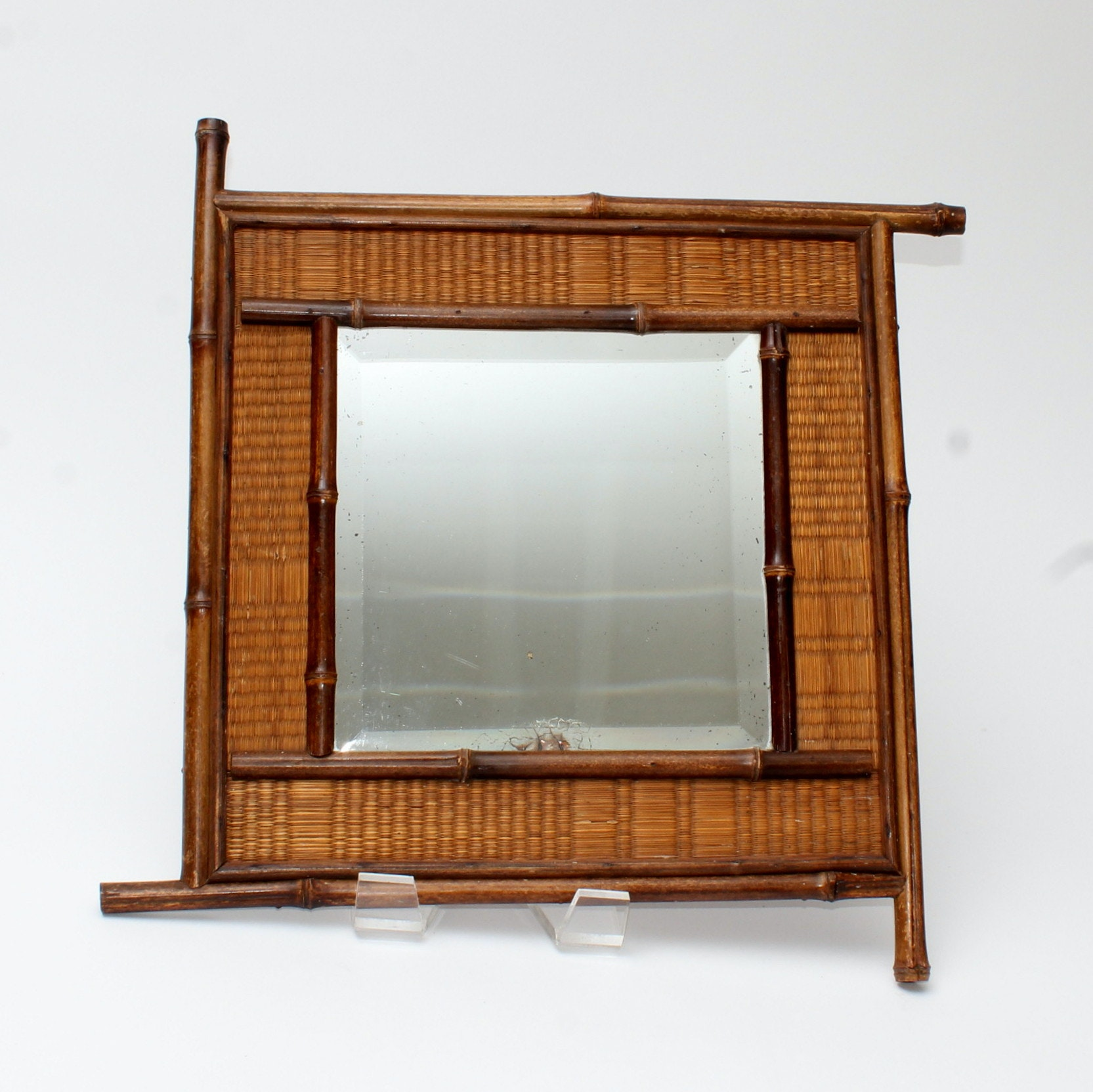 Vintage Wall Mirror with Seagrass and Bamboo Frame