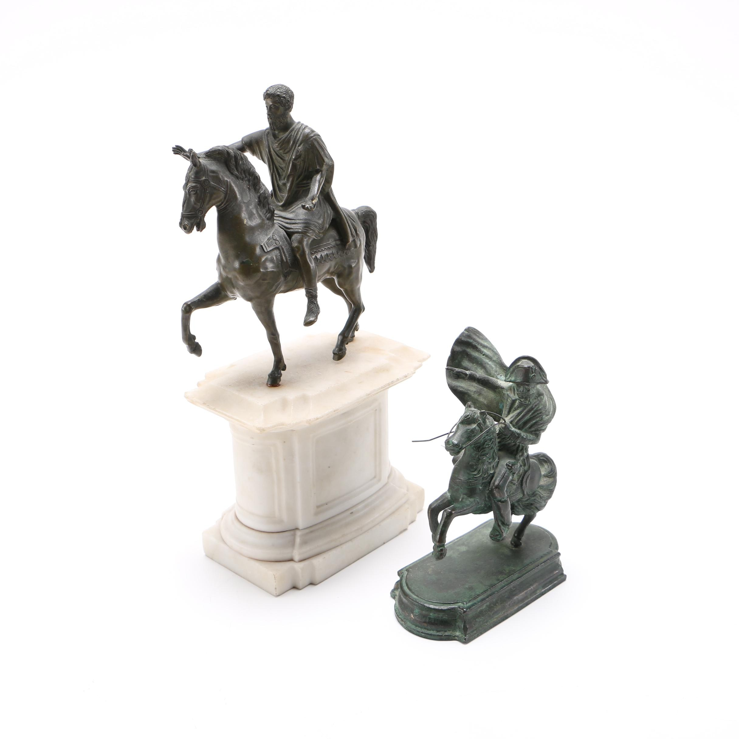 Cast Brass Reproduction Sculptures of Napoleon and Mark Anthony