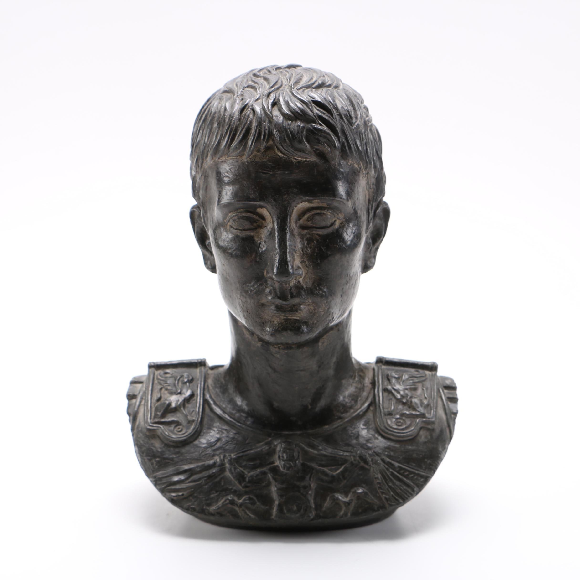 Classical Roman Style Plaster Bust of Augustus Caesar