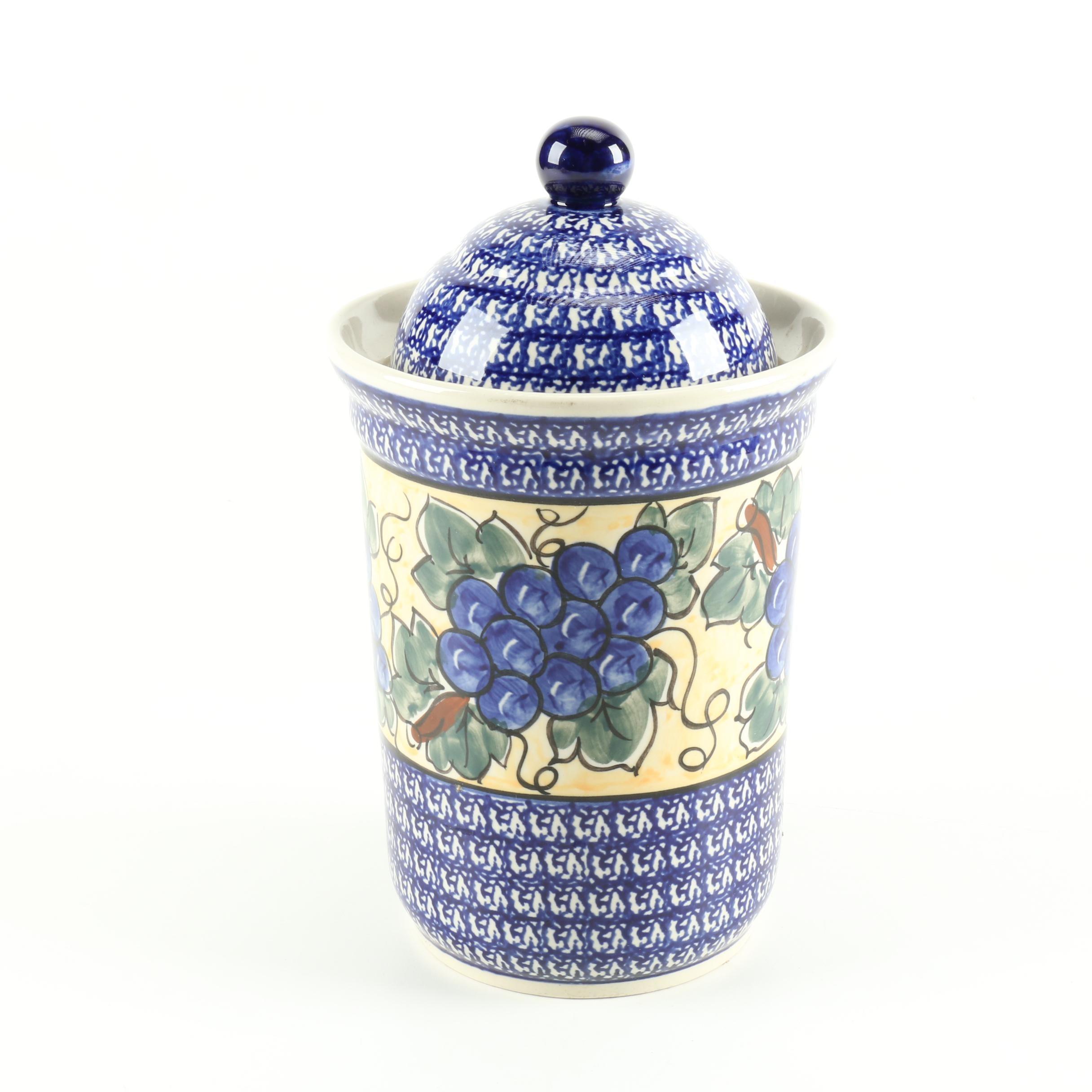 Boleslawiec  Pottery Ceramic Urn