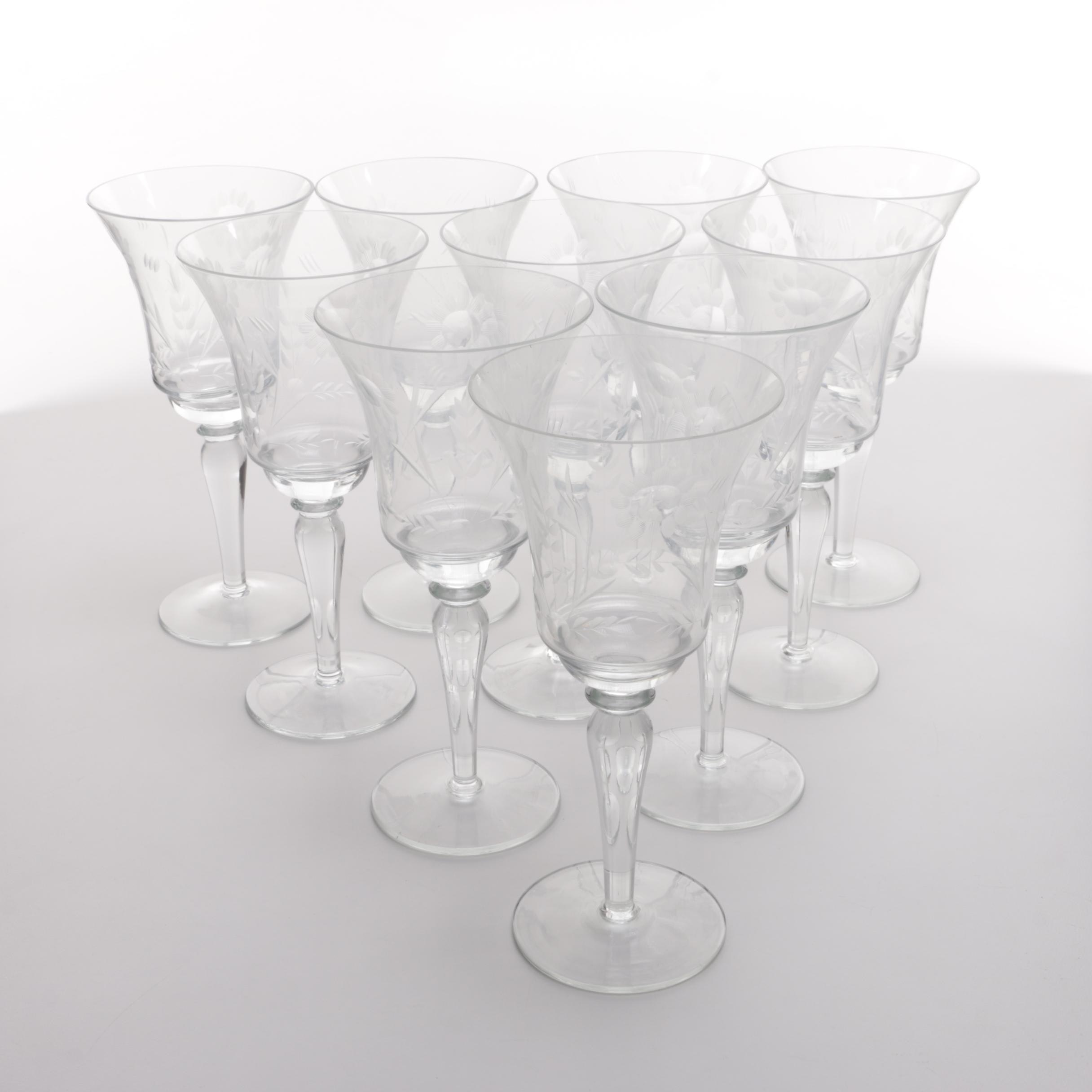Floral Etched Wine Glasses
