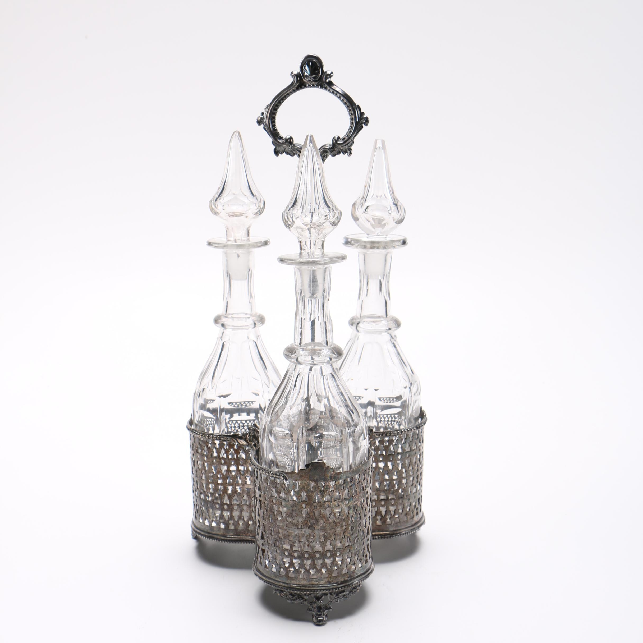 Cut Glass Decanter Set With Silver Plated Stand