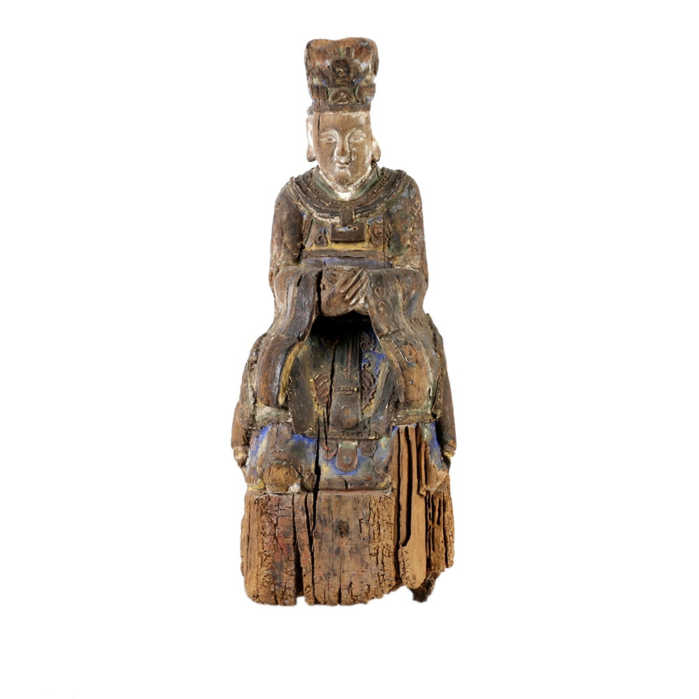 Chinese Polychrome Carved Wood Court Official Temple Figure