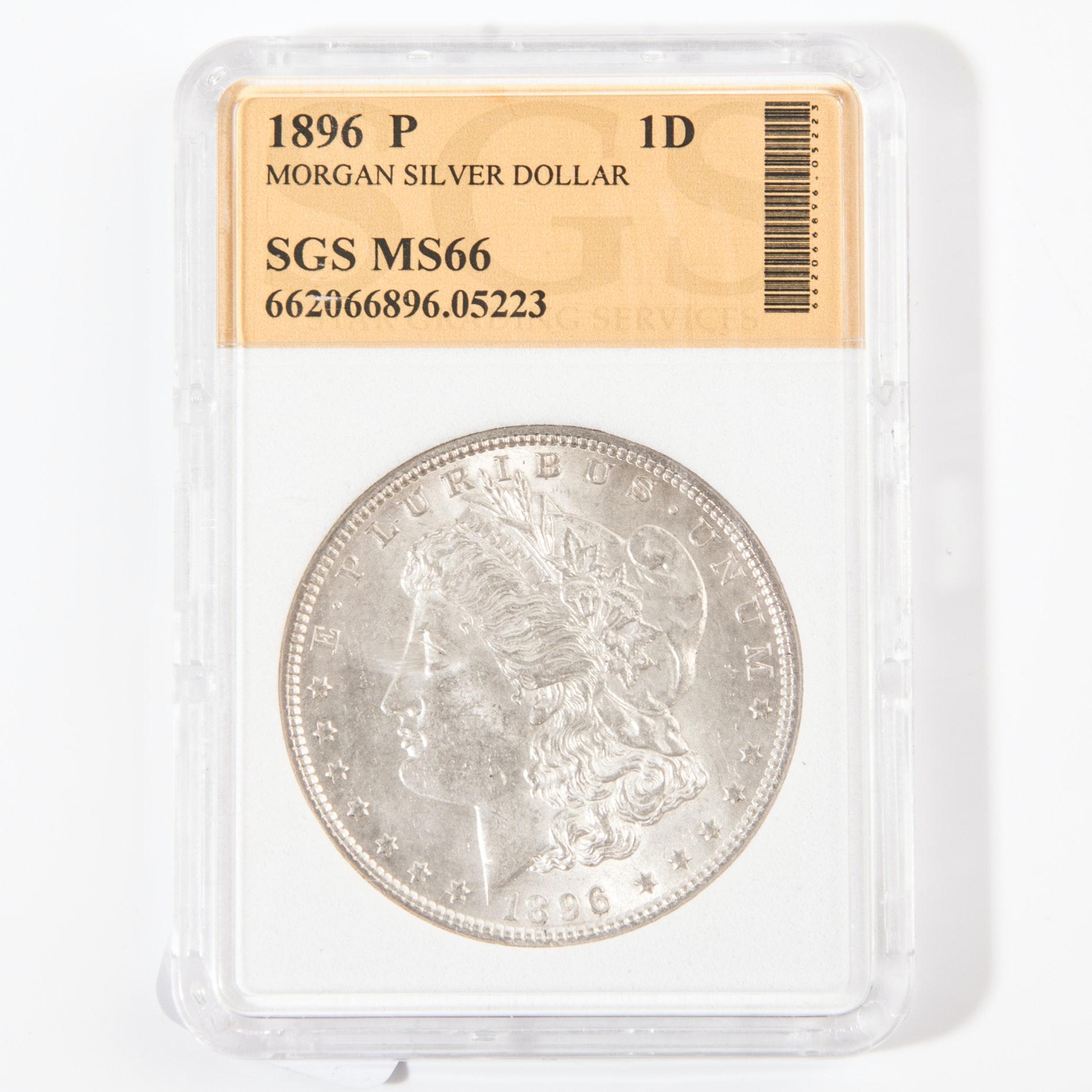 1896 Morgan Silver Dollar Graded MS66 by SGS