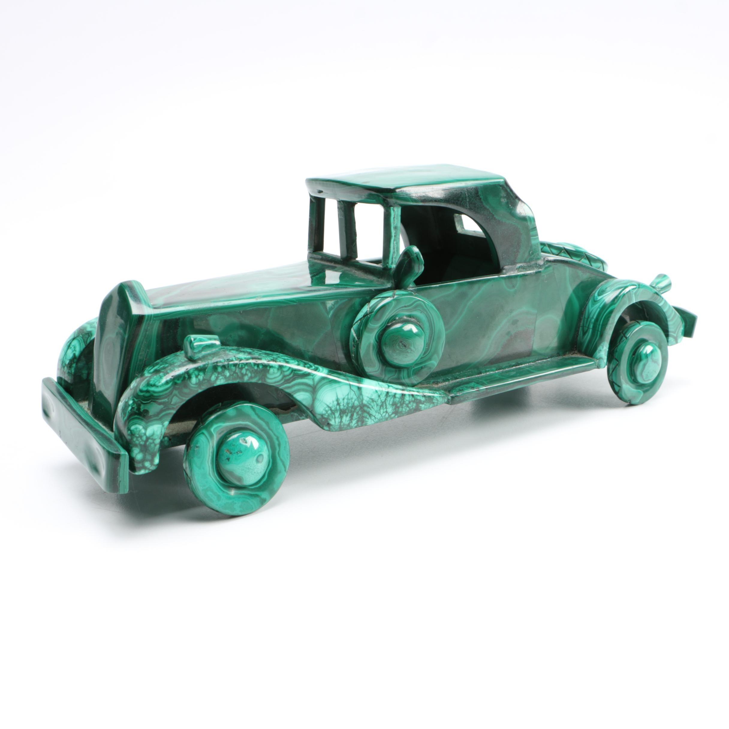 Malachite Roadster Car Sculpture