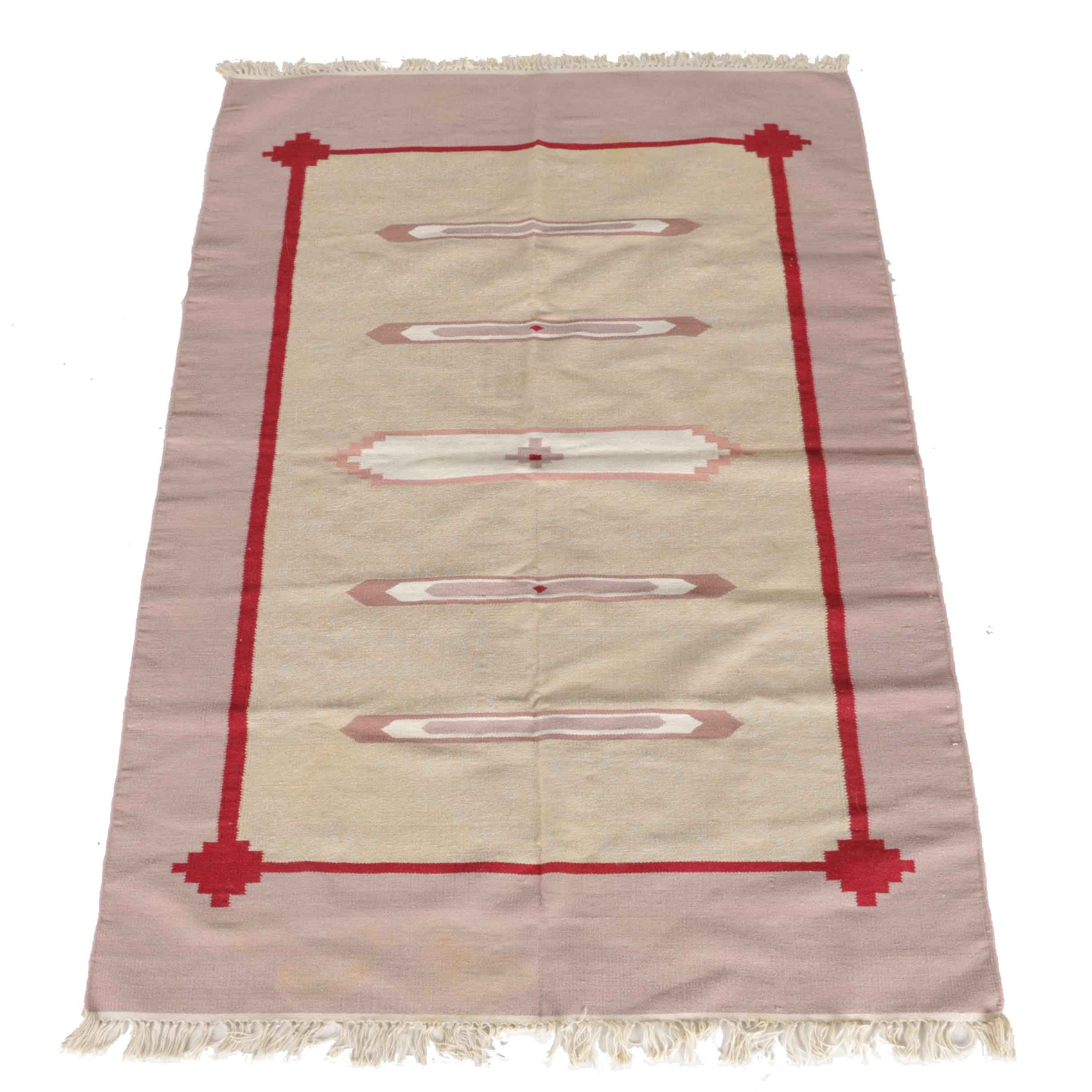 Handwoven Indian Wool Dhurrie Area Rug