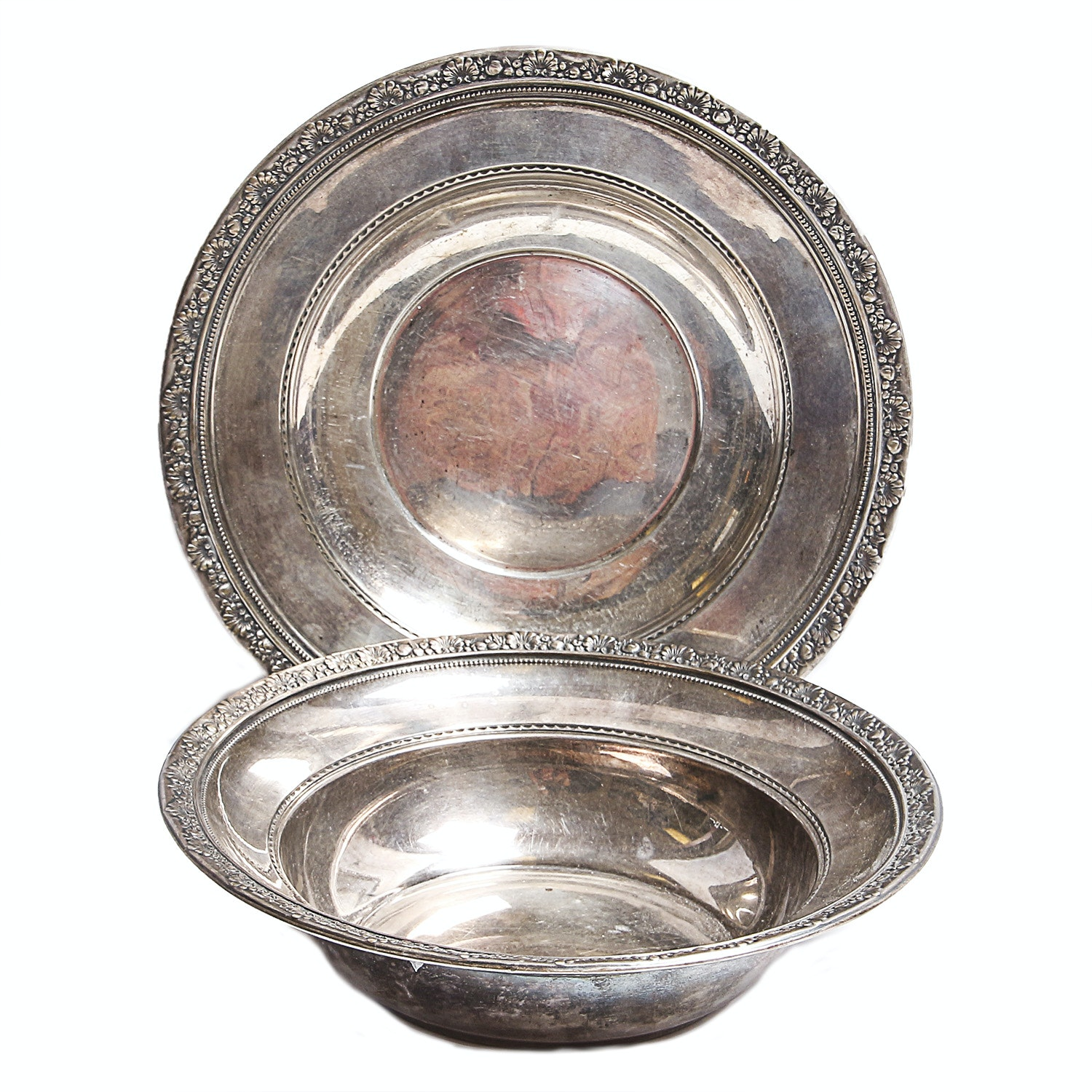 """Sterling Silver Plate and Bowl in """"Medici"""" Pattern"""