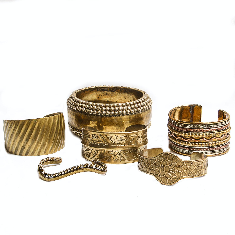 Grouping of Brass Bracelets
