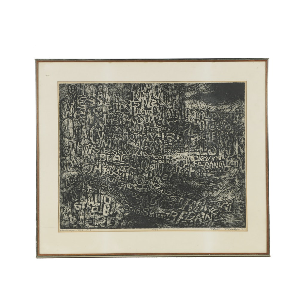 """Limited Edition Woodcut on Paper """"Landscape 1963 #6"""""""
