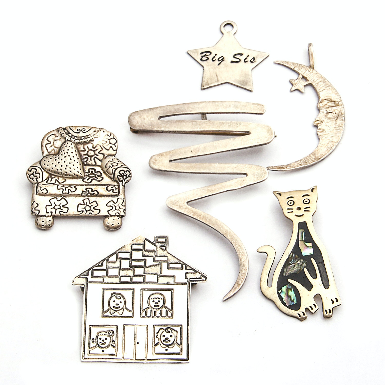 Whimsical Sterling Charms and Brooches