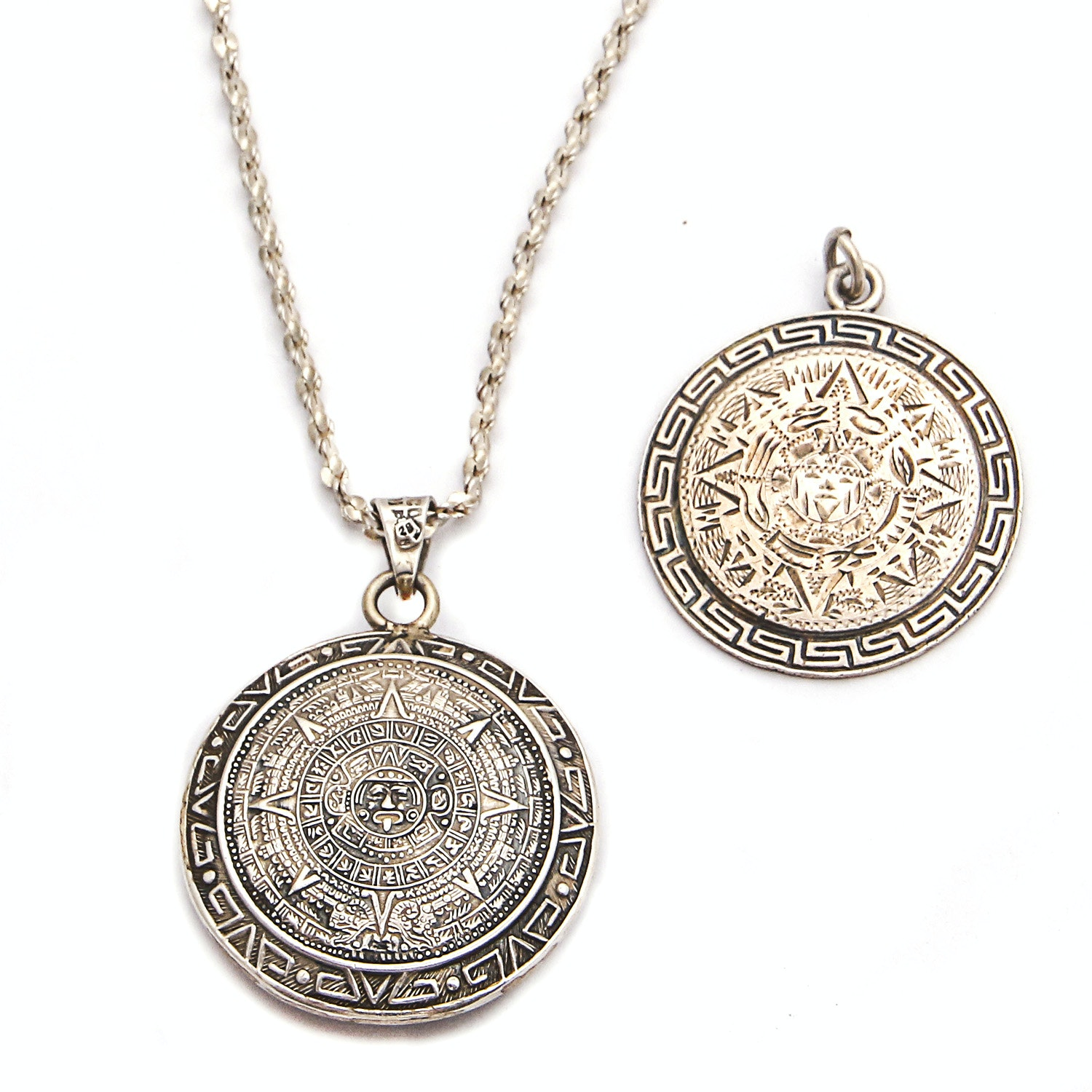 Sterling Silver Necklace with Pair of Mayan Sun Calendar Pendants