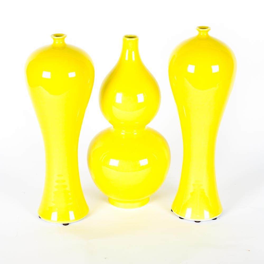 Set of Chinese Yellow Glazed Ceramic Vases