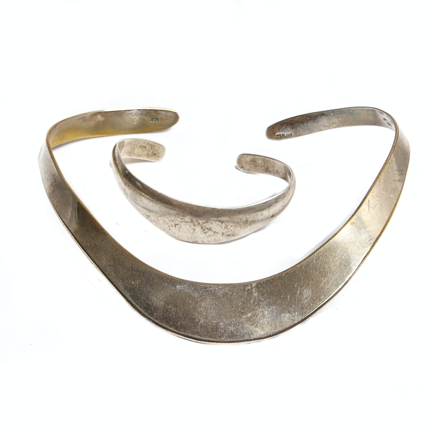 Sterling Silver Choker Necklace and Cuff Bracelet