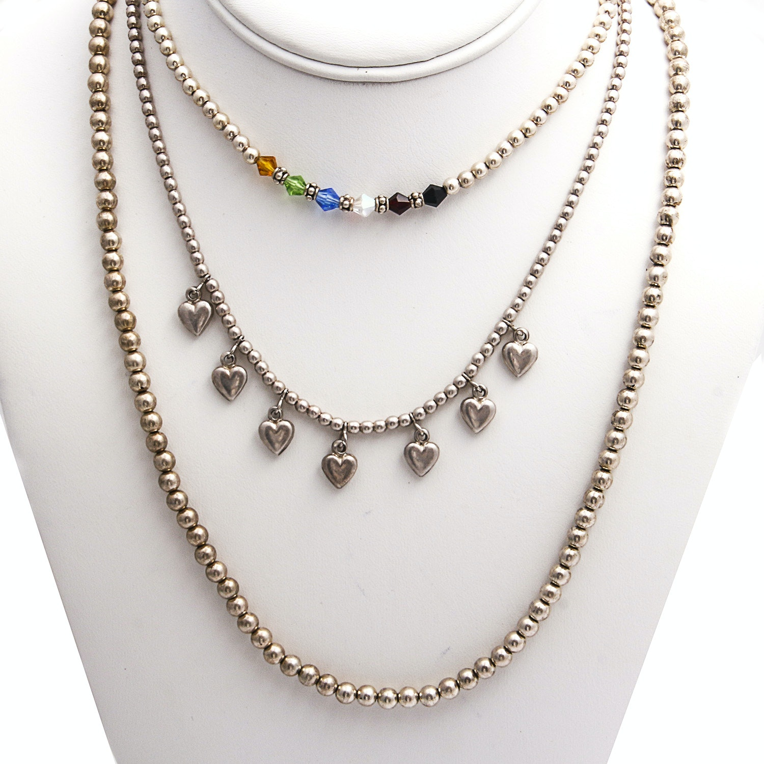 Three Sterling Silver Beaded Necklaces