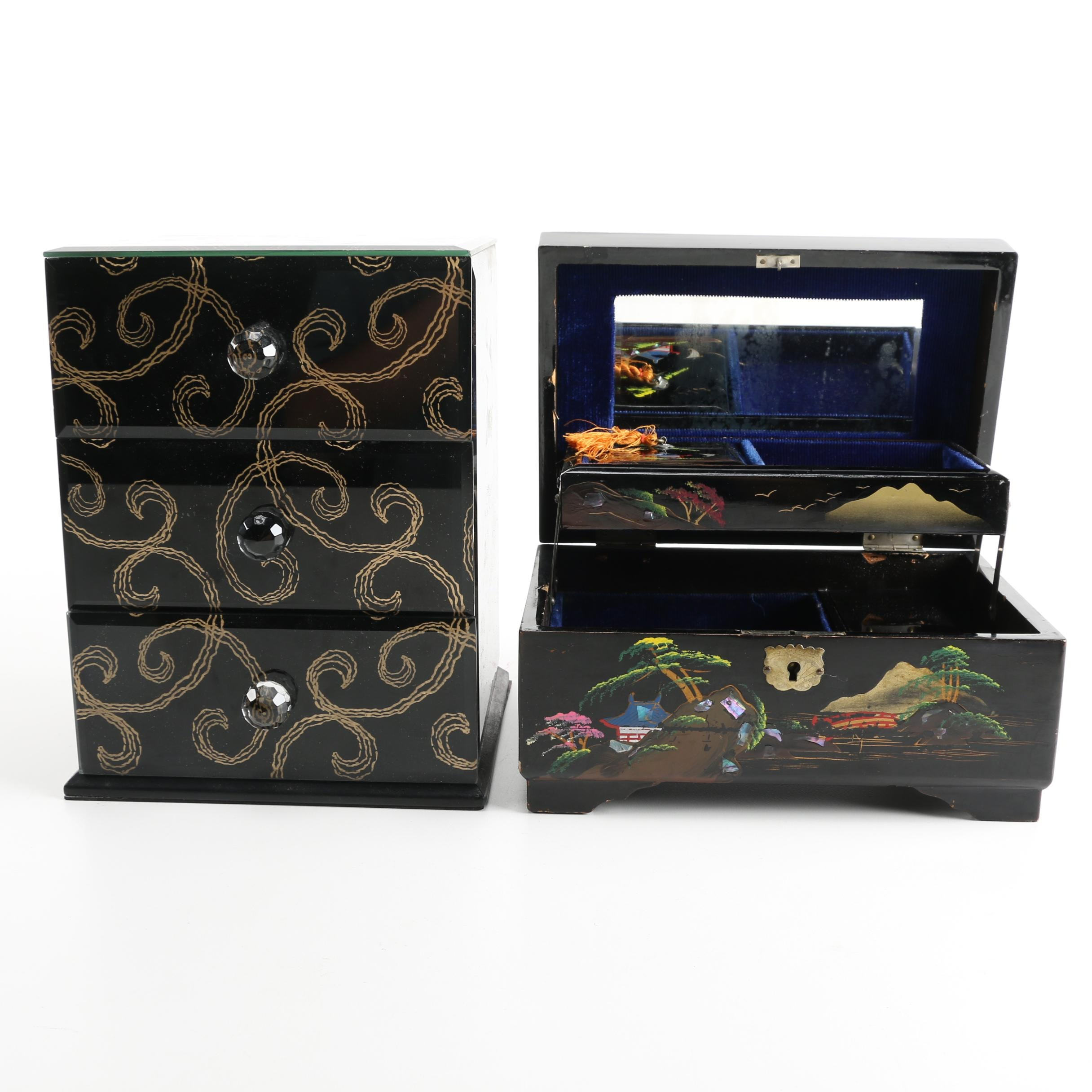 Embellished Jewelry Boxes Featuring Black Glass and Abalone