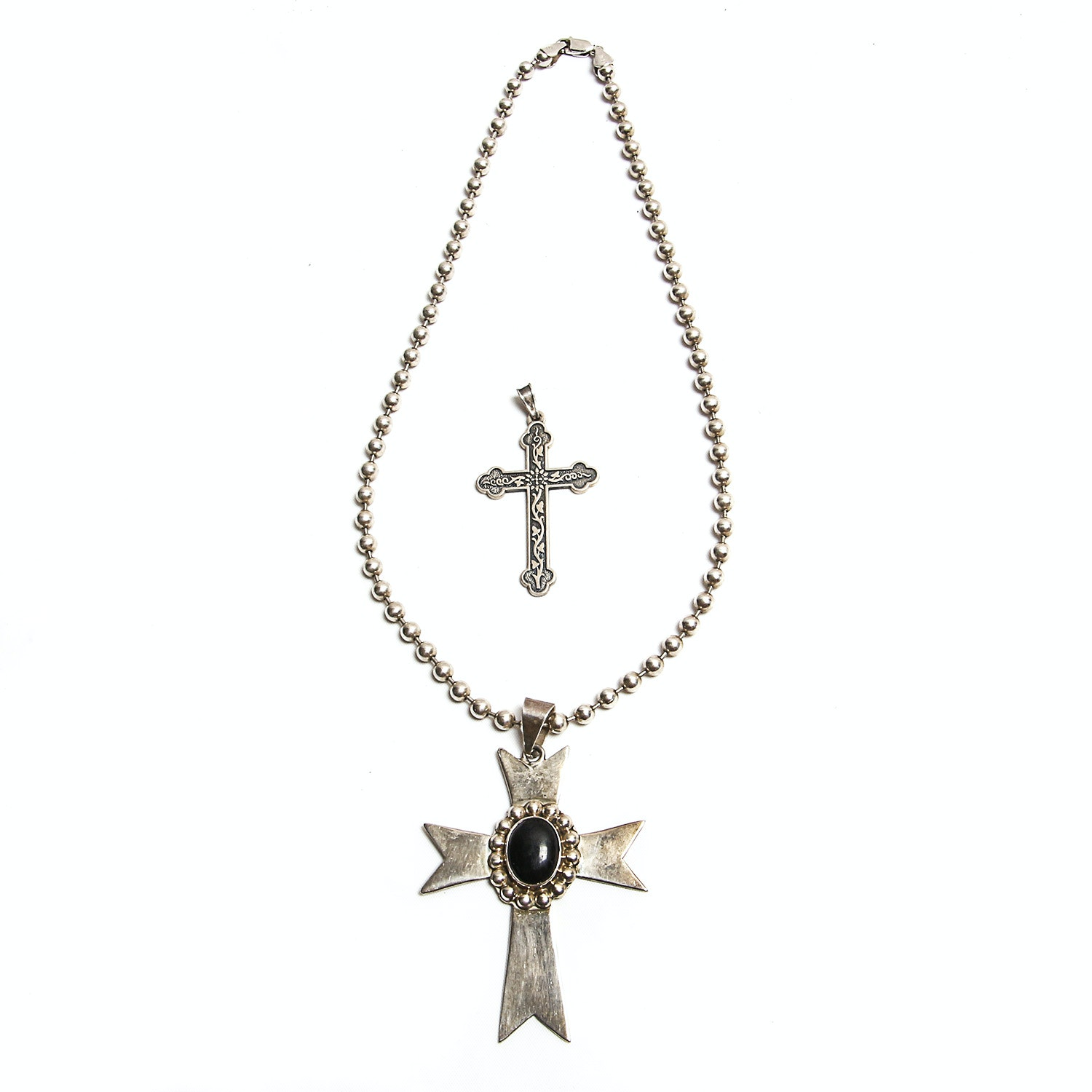 Sterling Silver Necklace with Pendant and James Avery Cross Pendant