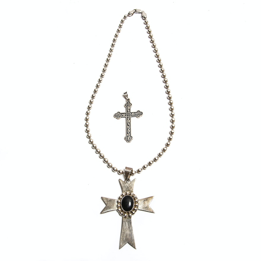 Sterling silver necklace with pendant and james avery cross pendant aloadofball Gallery