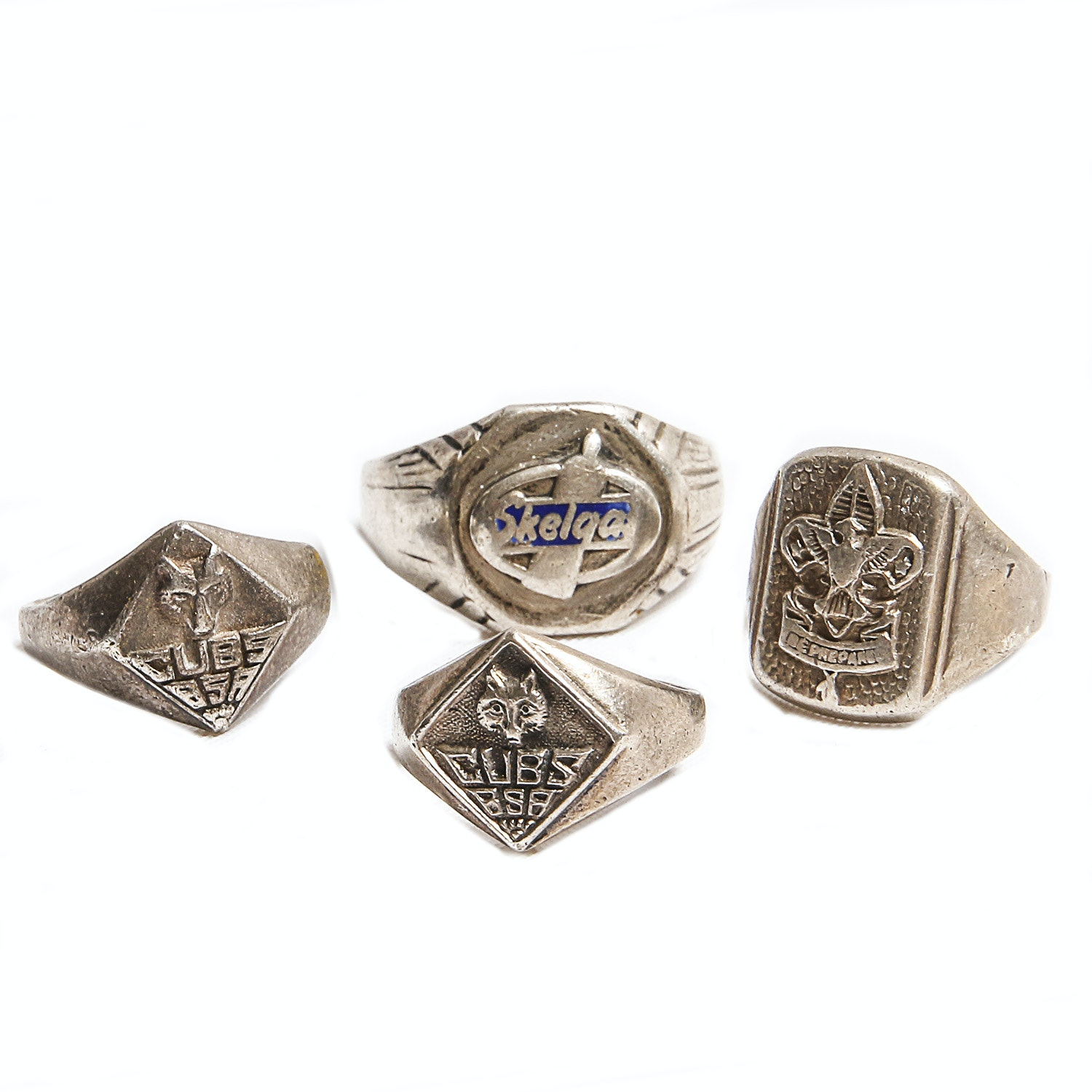 Three Sterling Boy Scout Rings with Skelgas Advertisement Ring