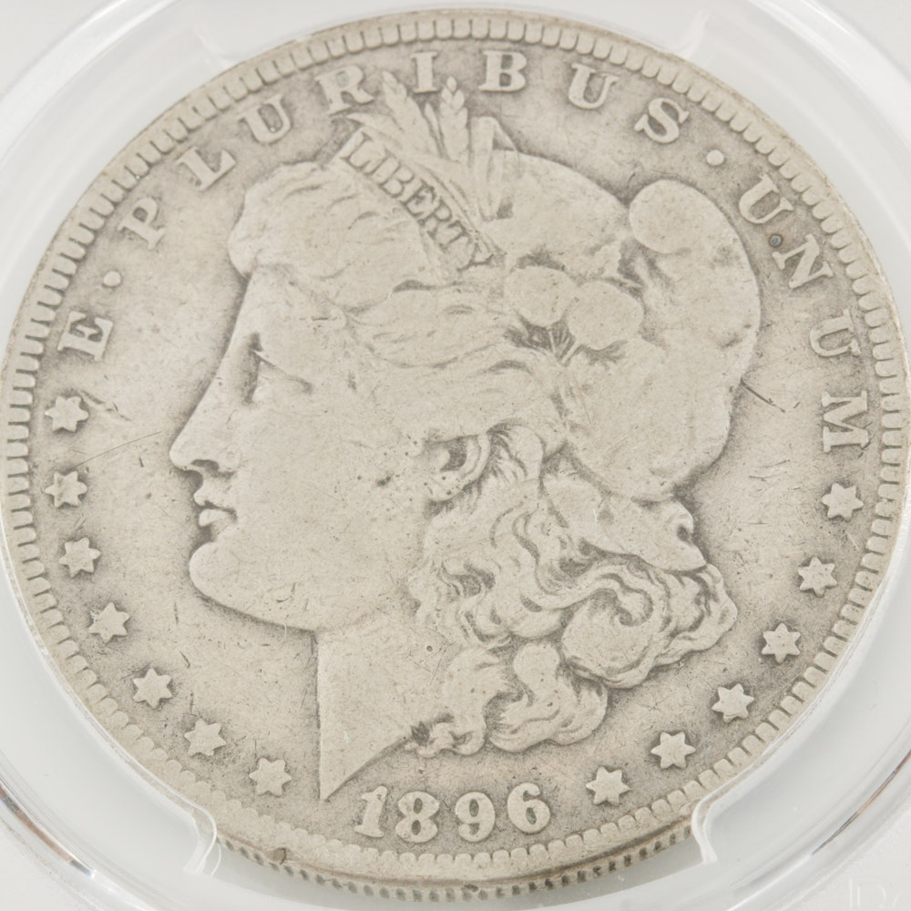 Encapsulated and Graded VG8 (by PCGS) 1896 O Morgan Silver Dollar