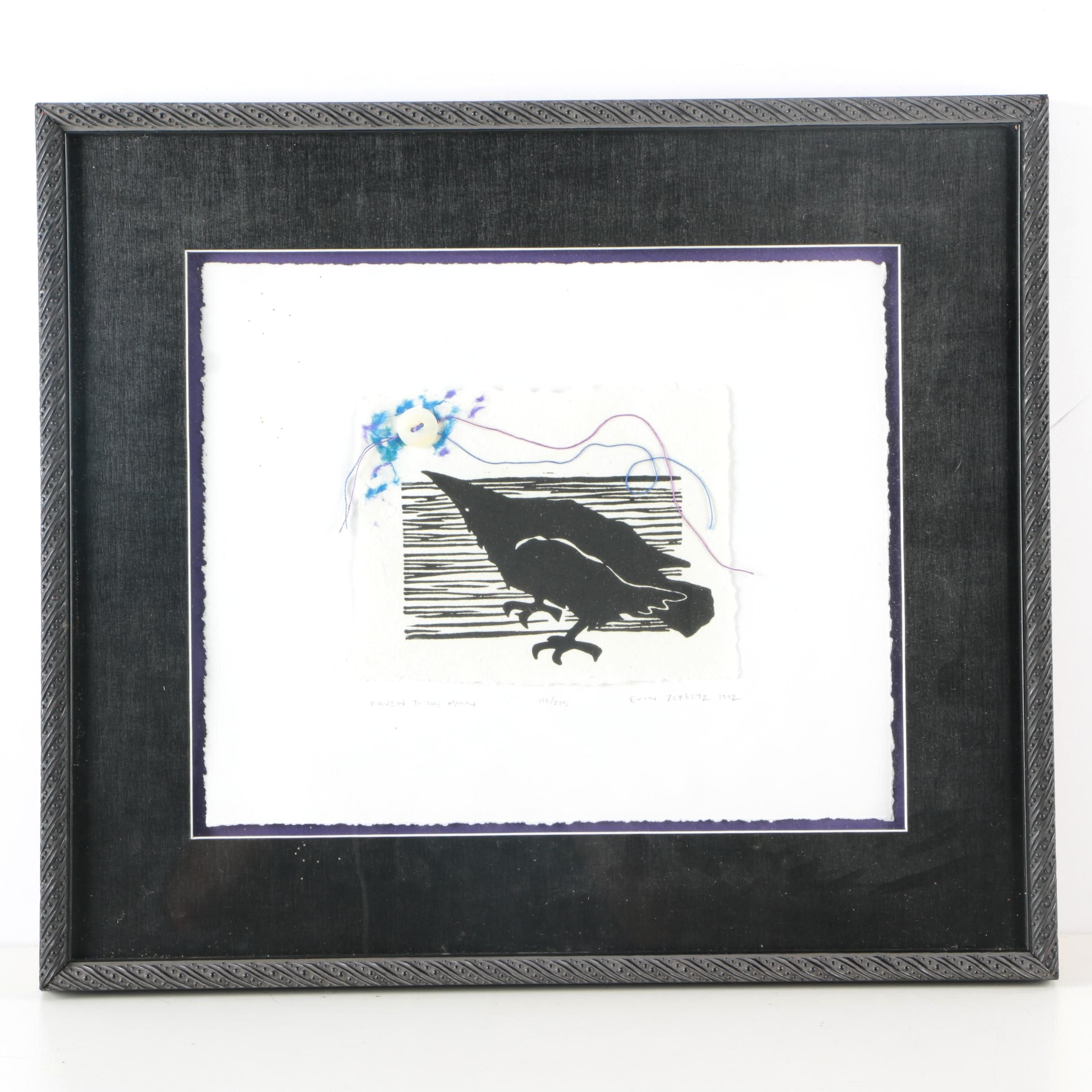 """Evon Zerbetz Limited Edition Mixed Media Woodblock Print """"Raven to the Moon"""""""