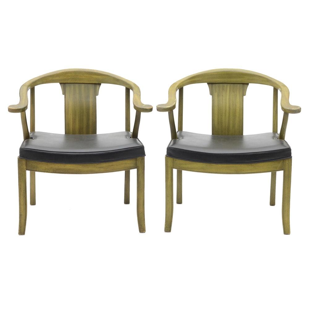 Pair of Mid-Century Mandarin Style Arm Chairs