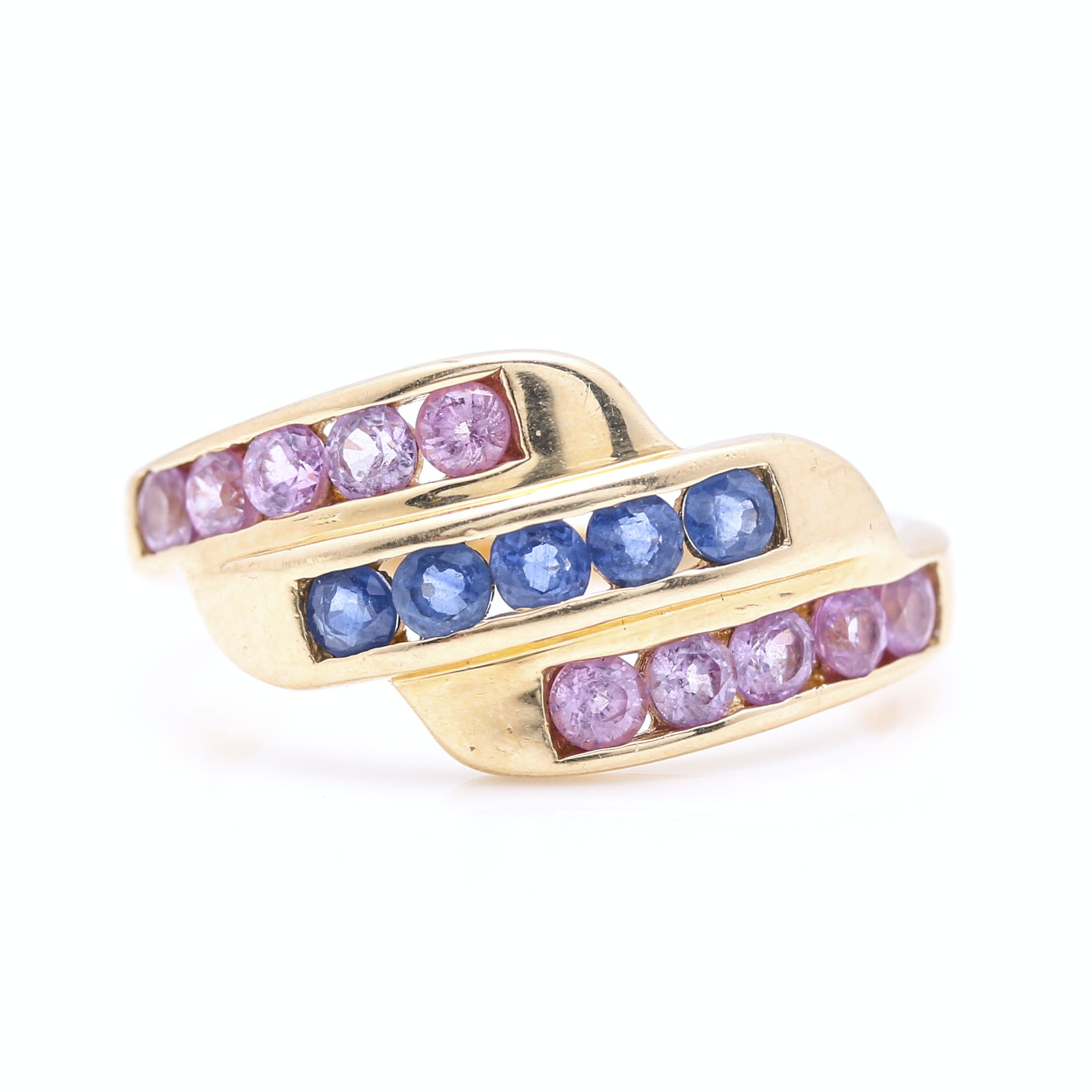 14K Yellow Gold Blue and Pink Sapphire Ring