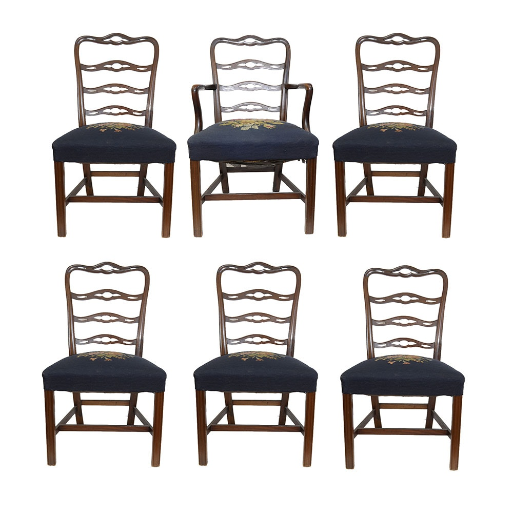 Six Hepplewhite Style Ladder Back Dining Chairs