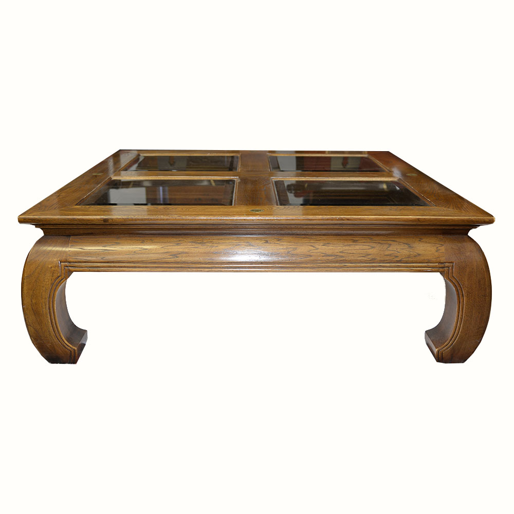Asian Inspired Square Fruitwood Coffee Table EBTH