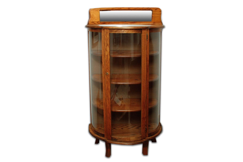 Vintage Bow Front Oak Curio Cabinet