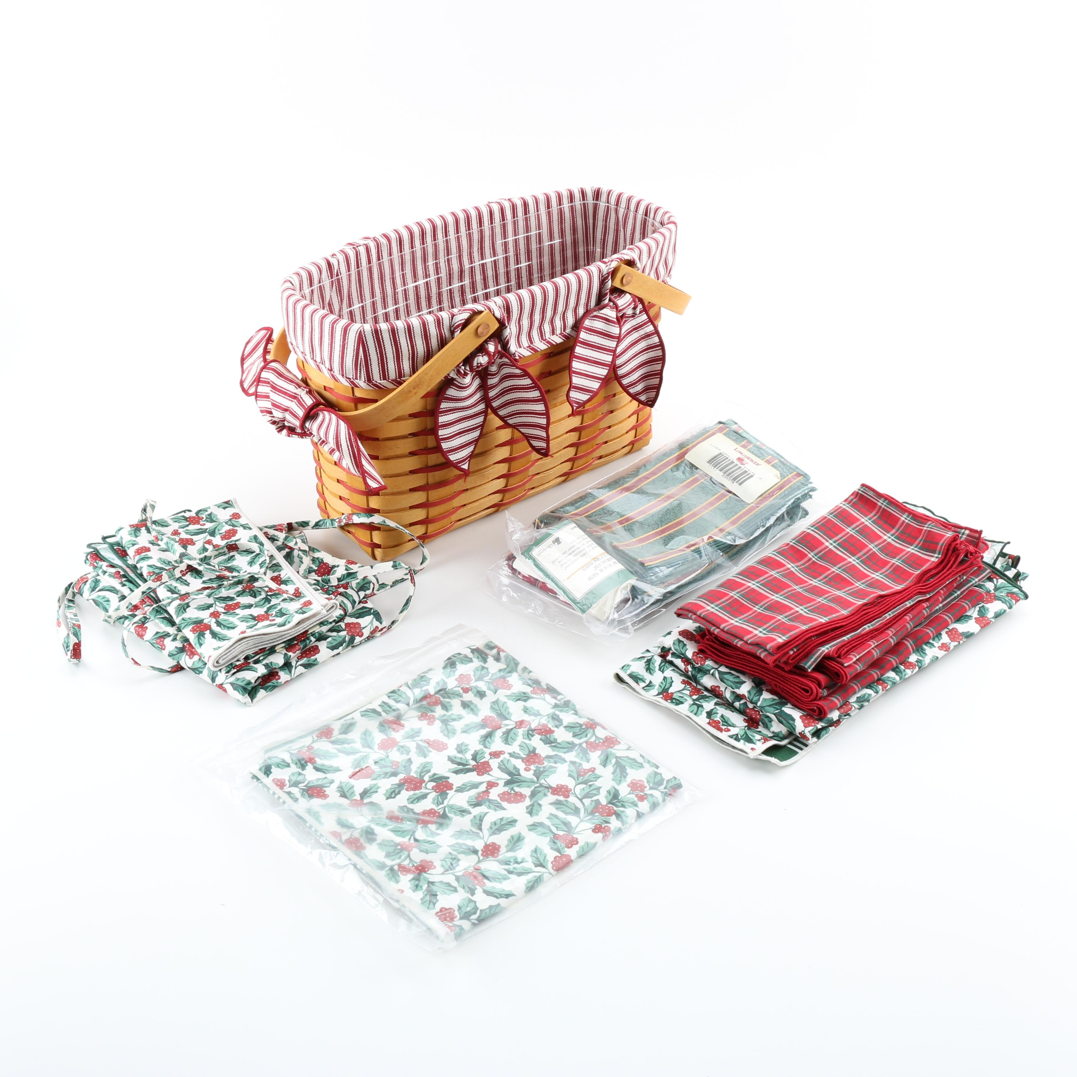 Longaberger Cherished Memories Sweetheart Basket and Table Linens