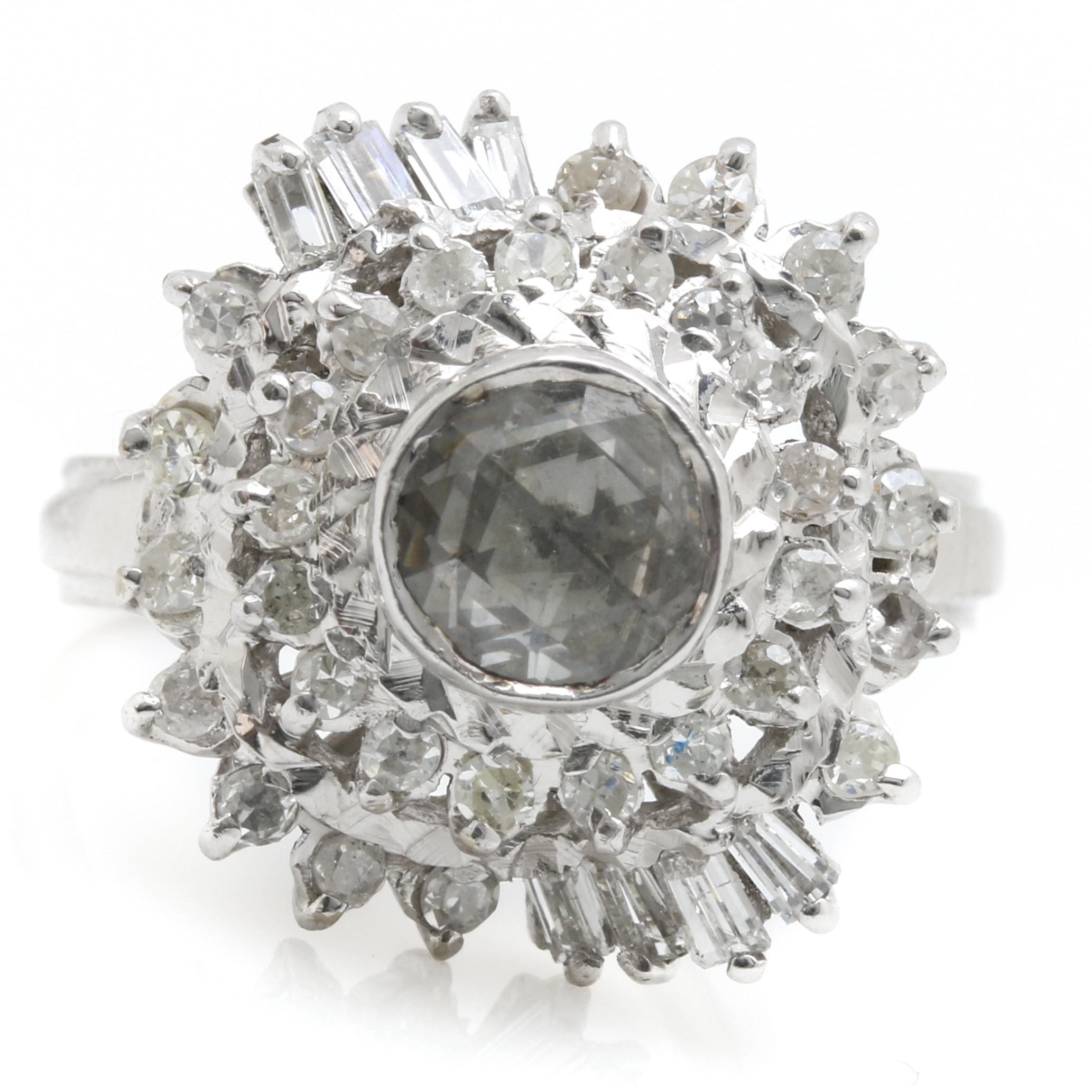 18K White Gold Rose Cut Diamond Cocktail Ring