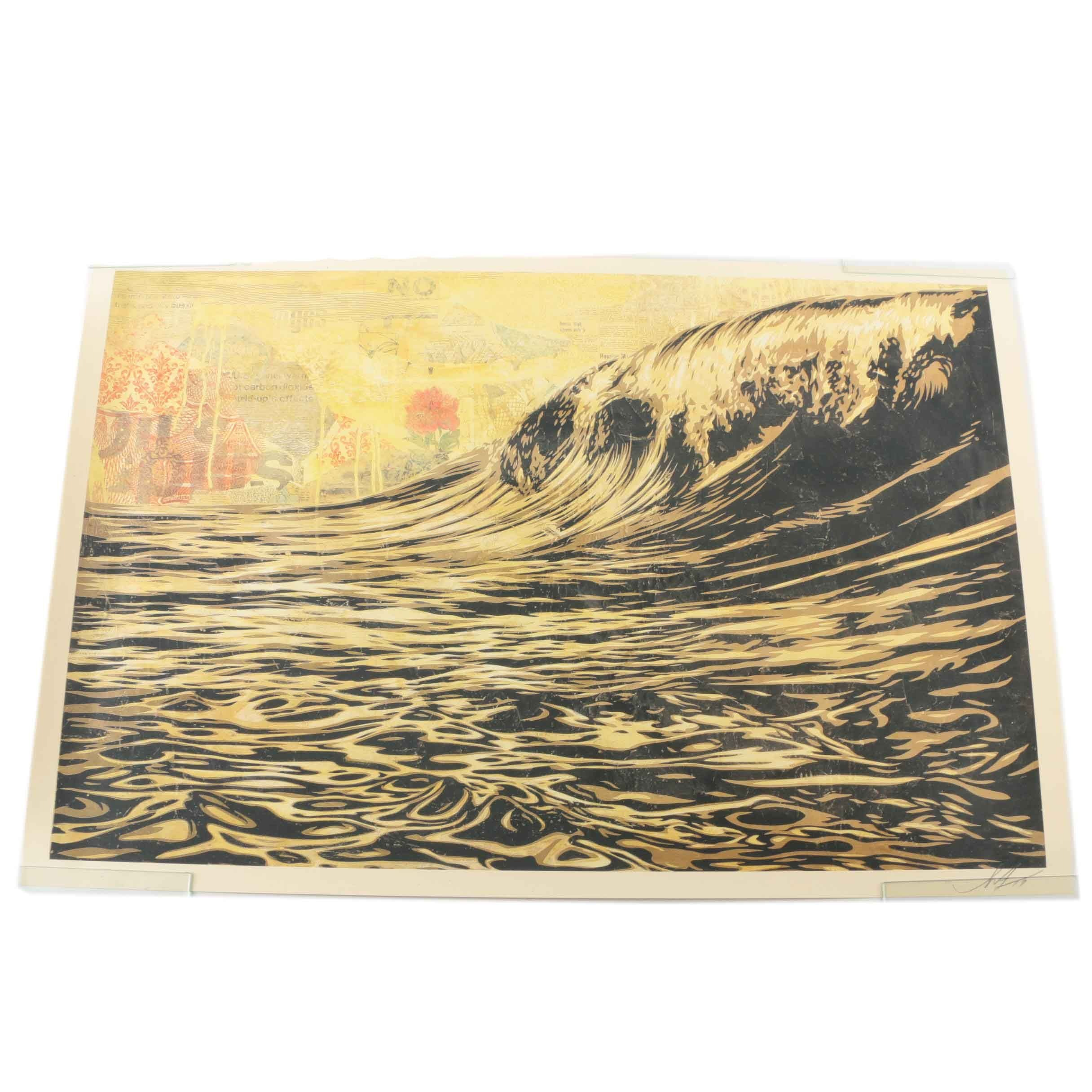 "Shepard Fairey Signed Mixed Media ""Dark Wave"""