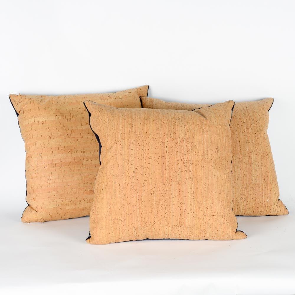 Set of Faux Cork Throw Pillows