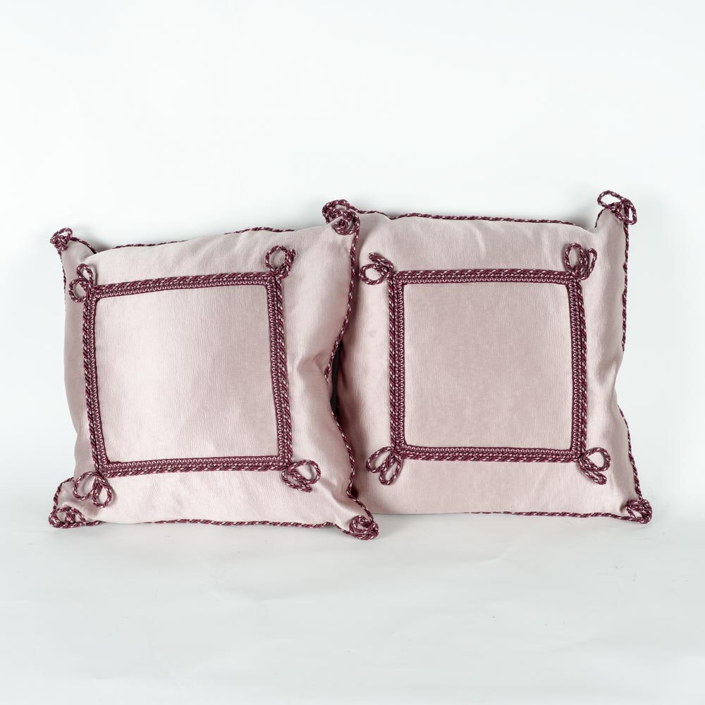 Pair of Purple Silk Down and Feather Decorative Pillows