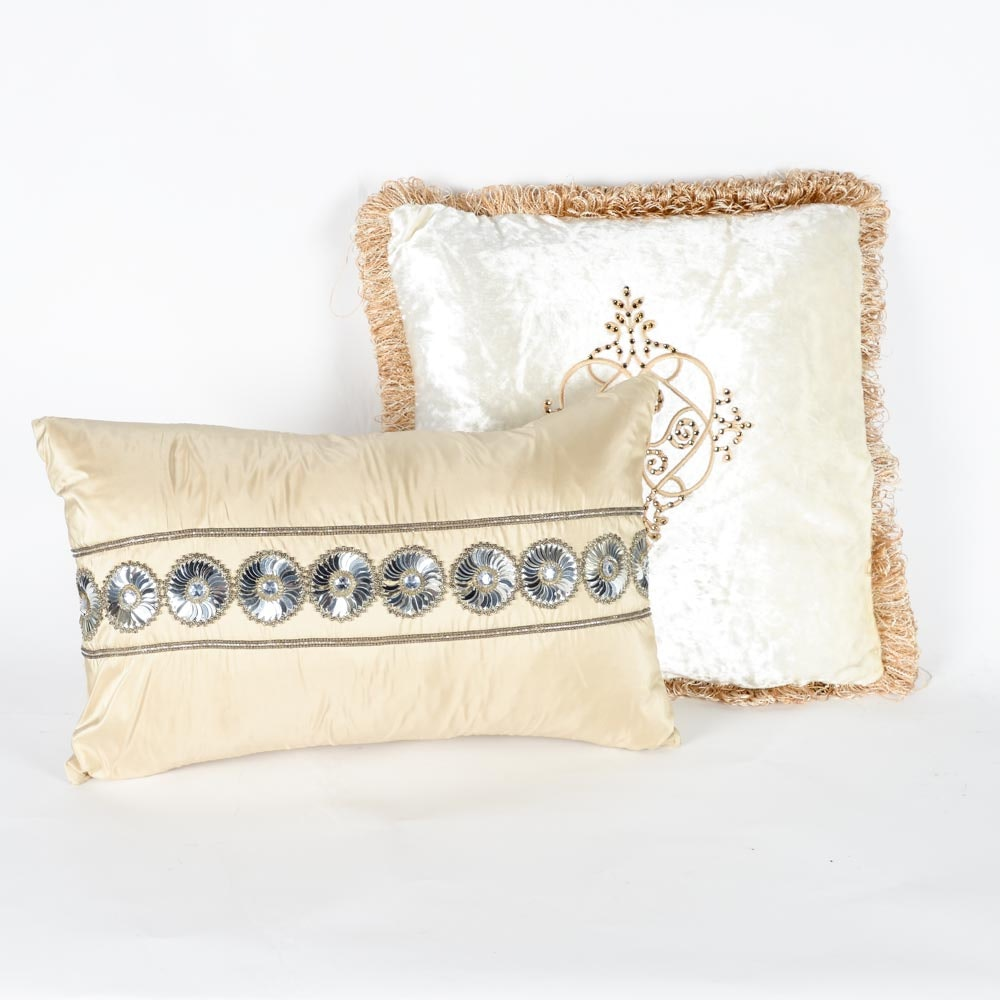 Pair of Down Sequin Decorative Pillows