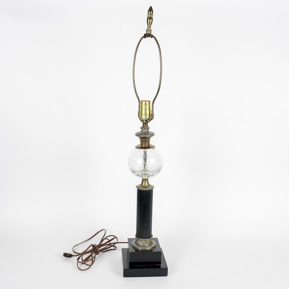 Vintage Brass, Wood and Glass Table Lamp