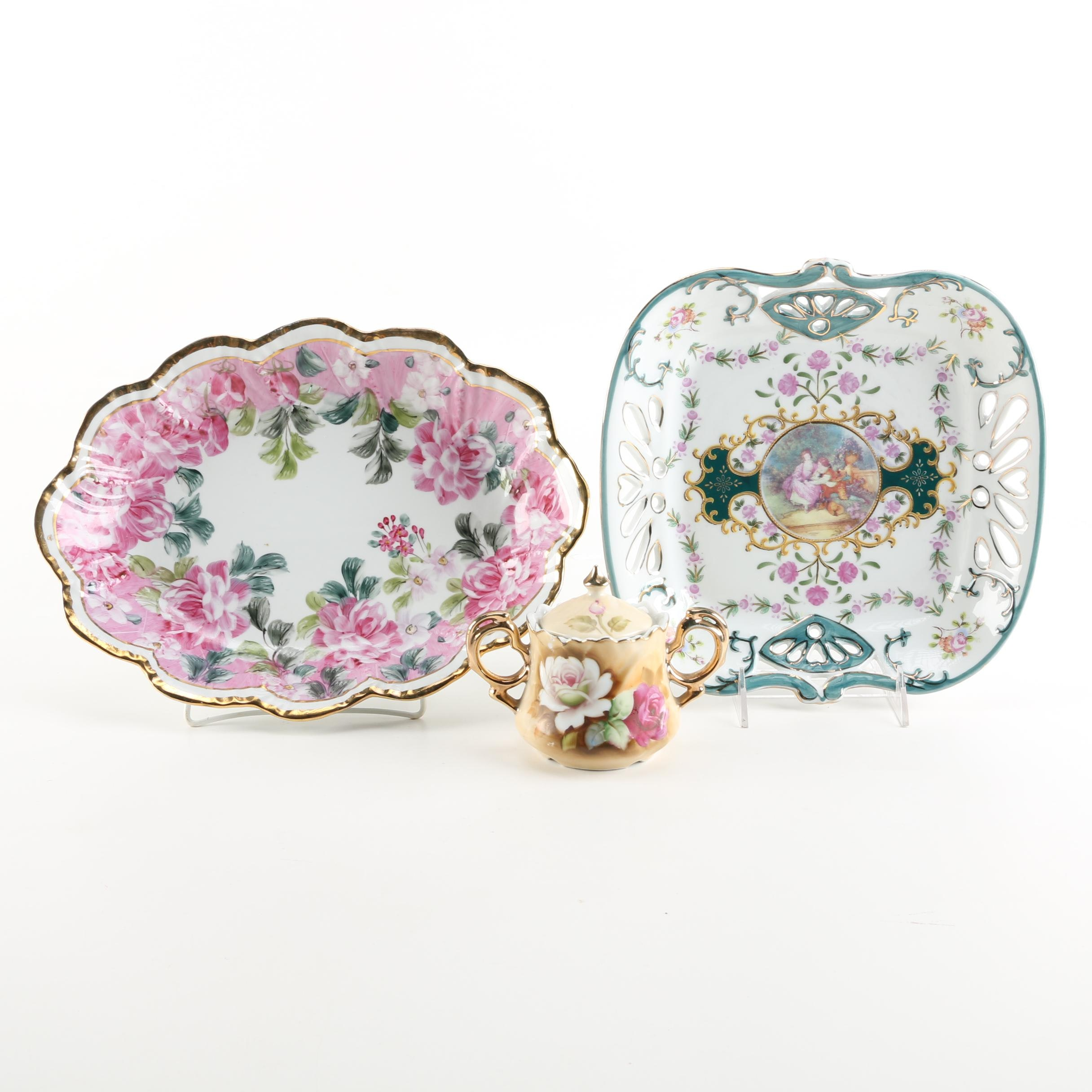 Assortment of Decorative Plates and a Sugar Bowl Including Lefton
