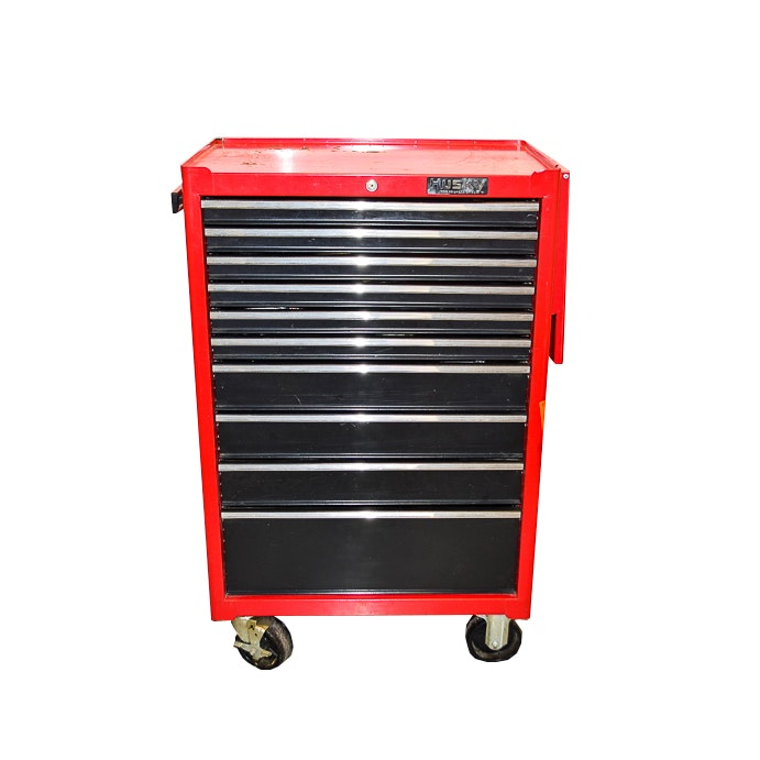 husky rolling tool cabinet and tools