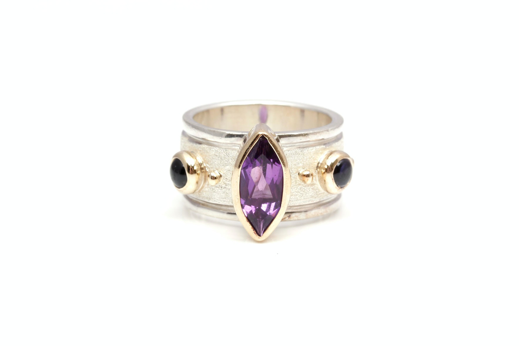 Sterling Silver 14K Gold Accented Amethyst Ring