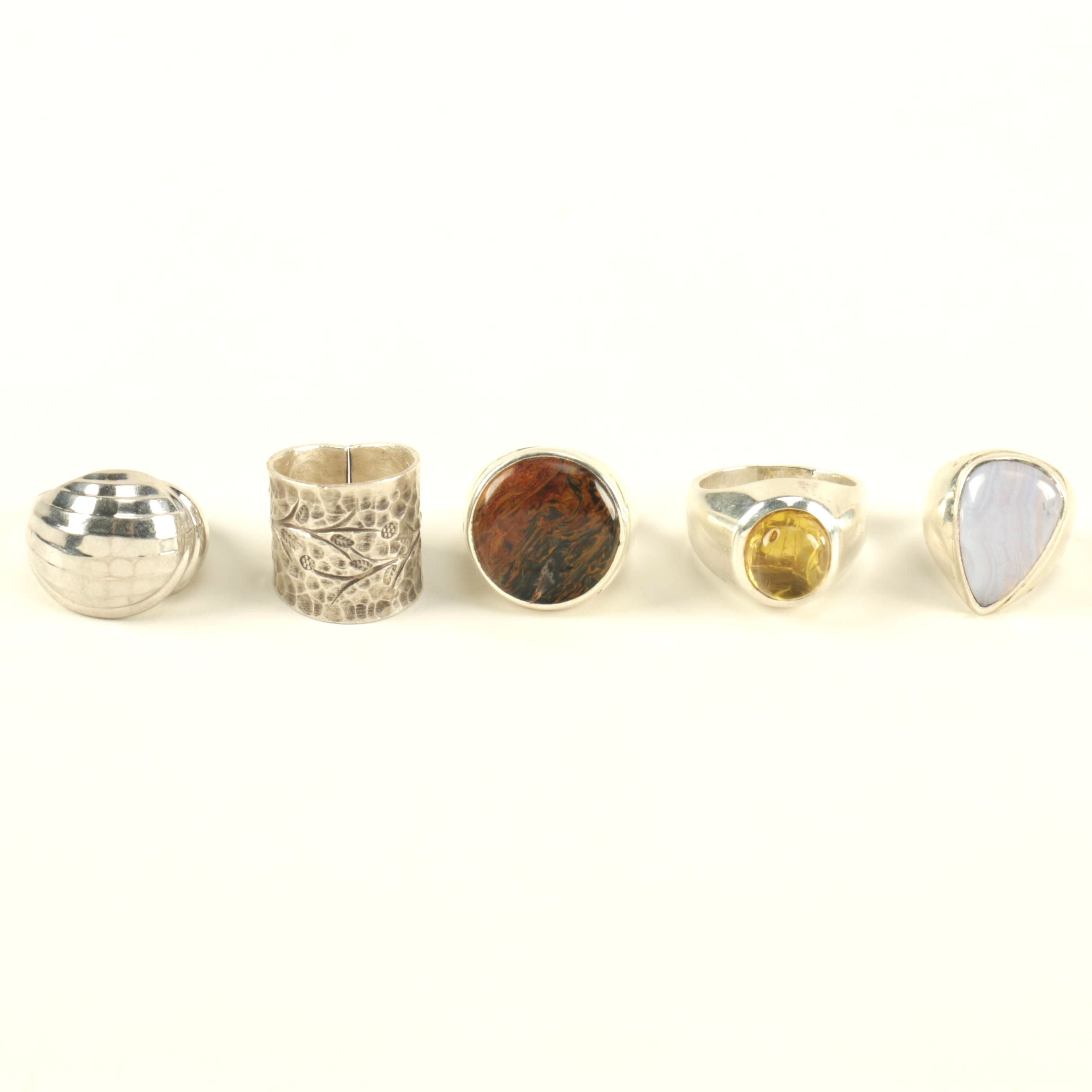 sterling silver rings including gemstones ebth