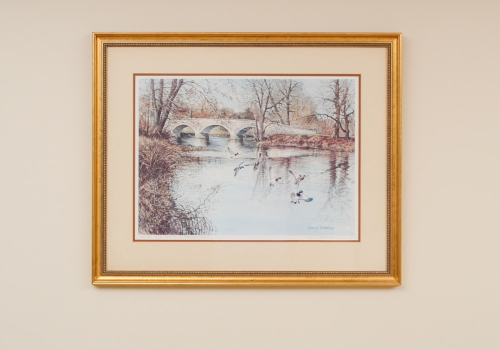 "Harry  L. Richardson Signed LE Print Titled ""River Mallards At Burnside's Bridge"""