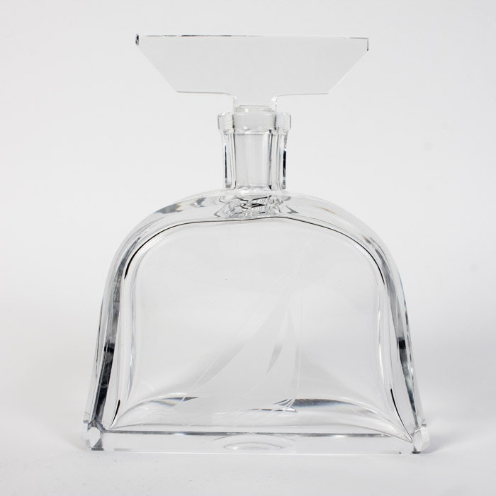 Crystal Decanter with Etching of Sail Boat